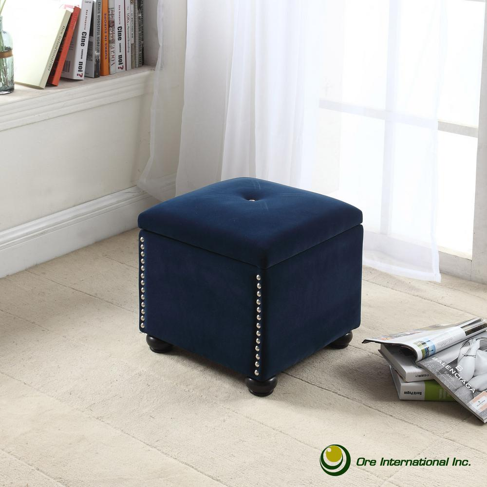 Sensational Navy Blue Suede Storage Seating Ncnpc Chair Design For Home Ncnpcorg