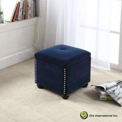 Navy Blue Suede Storage Seating
