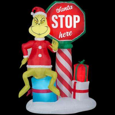 6 Ft Pre Lit Inflatable Airblown Grinch With Santa Stop Here Sign Scene