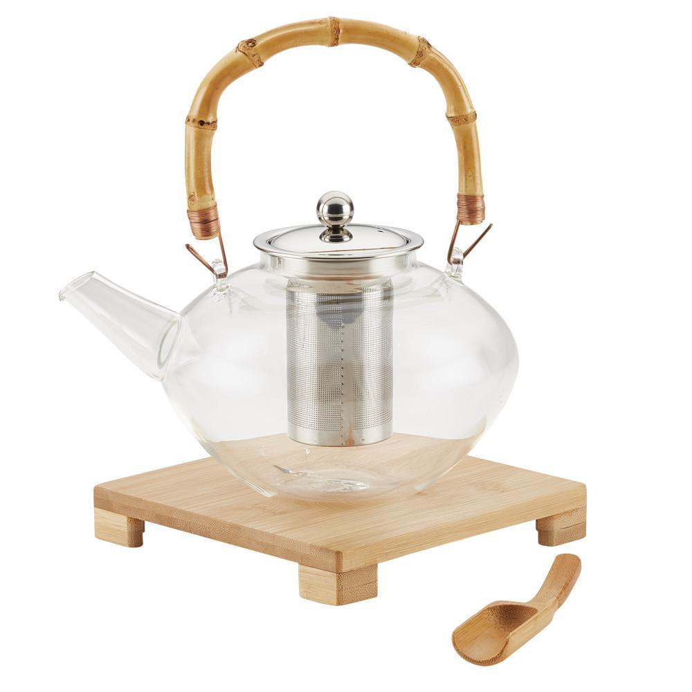 Tea Handblown Glass Zen Teapot with Stainless Steel Infuser and Bamboo Trivet, 34-Ounce