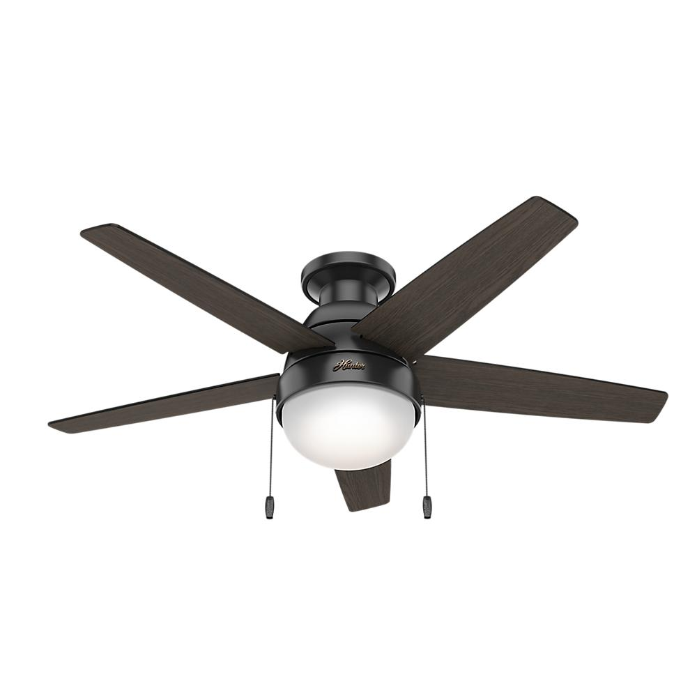 hunter parmer 46 in led indoor matte black flush mount ceiling fan with light kit 59588 the. Black Bedroom Furniture Sets. Home Design Ideas