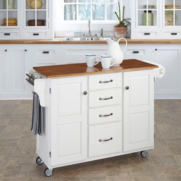 Home Styles Create-a-Cart White Kitchen Cart With Towel Bar 9100-1026G