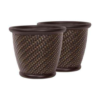 Herringbone 18 in. Round Bronze Painted Blow Molded Resin Planter (2-Pack)