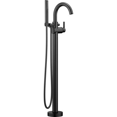 Trinsic 1-Handle Floor-Mount Roman Tub Faucet Trim Kit with Hand Shower in Matte Black (Valve Not Included)