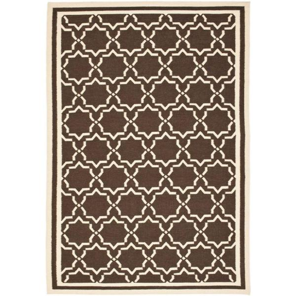 Safavieh Dhurries Chocolate/Ivory 9 ft. x 12 ft. Area Rug