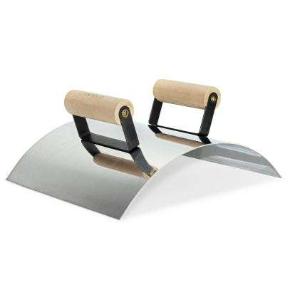 12 in. x 10 in. Stainless Steel Wall Capping Edger with Double Wood Handle