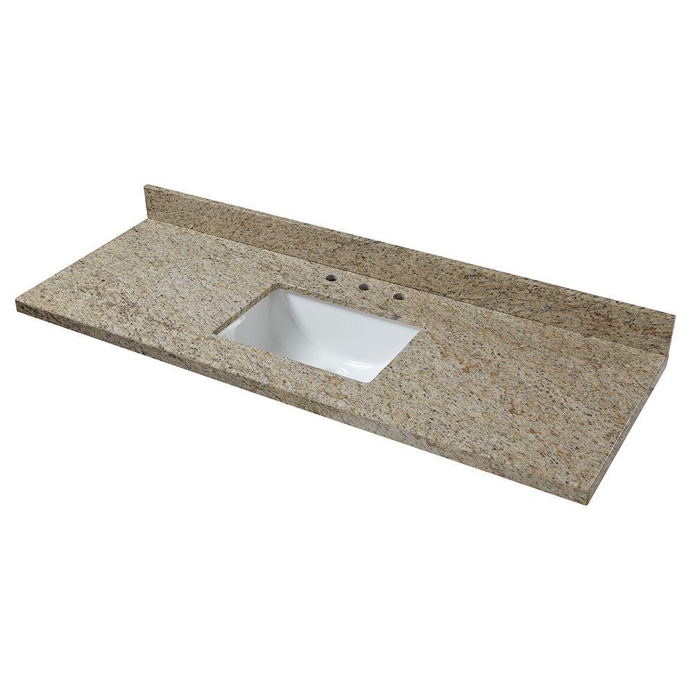 61 in. W Granite Single Basin Vanity Top in Giallo Ornamental