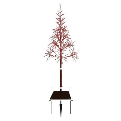 61 in. Tall Indoor/Outdoor Artificial Festive Christmas Tree with LED Lights, Red