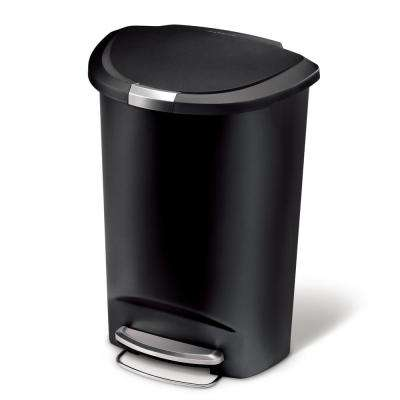 50-Liter Semi-Round Black Plastic Step-On Trash Can