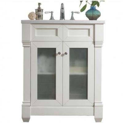 Weston 30 in. W Single Vanity in Cottage White with Solid Surface Vanity Top in Arctic Fall with White Basin