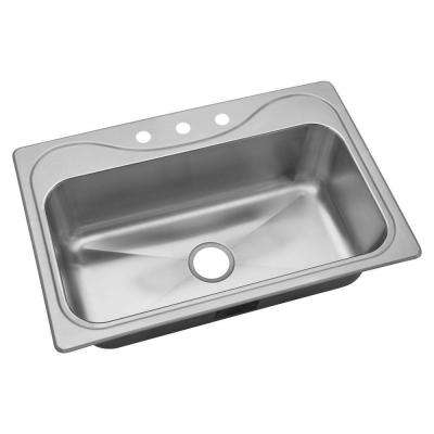 Southhaven Drop-In Stainless Steel 33 in. 3-Hole Single Bowl Kitchen Sink