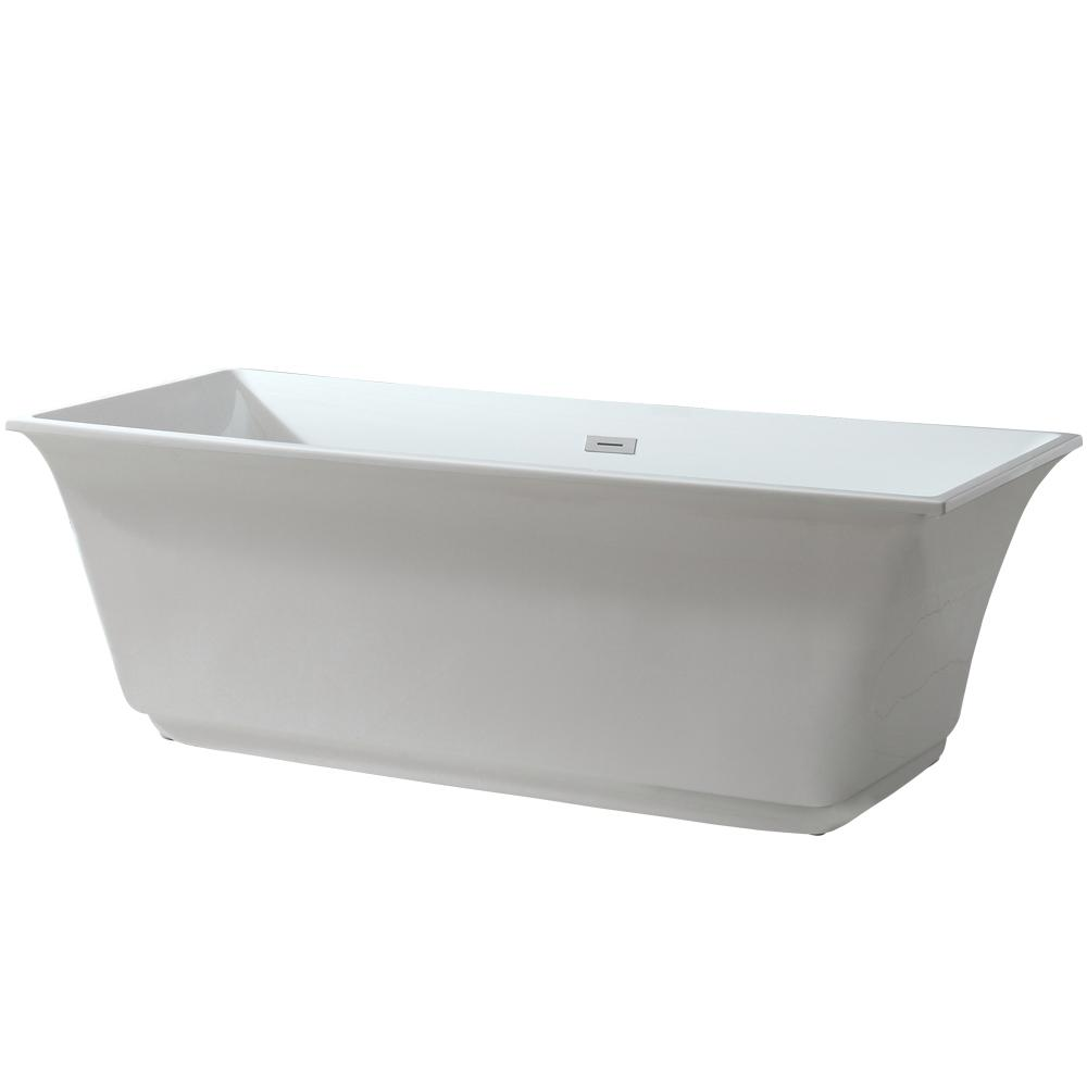 Sunny 5.8 ft. Acrylic Freestanding Flatbottom Non-Whirlpool Bathtub in White