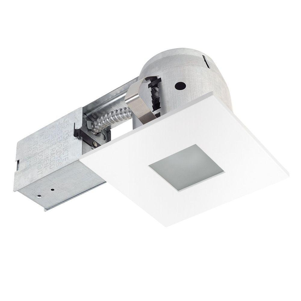 4 in square matte white bathroom recessed lighting kit with frosted