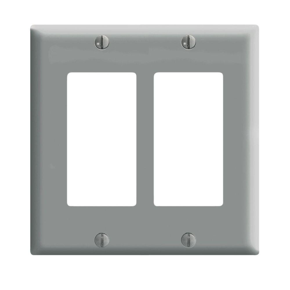 Leviton Decora 2 Gang Midway Nylon Wall Plate Gray