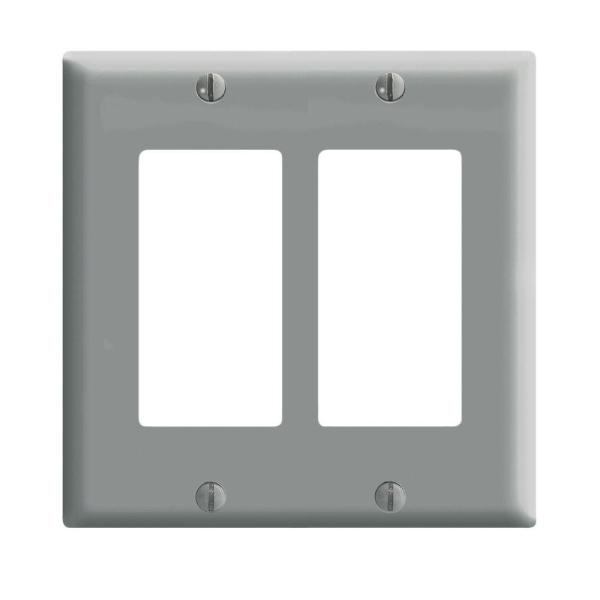Gray 2-Gang Decorator/Rocker Wall Plate (1-Pack)