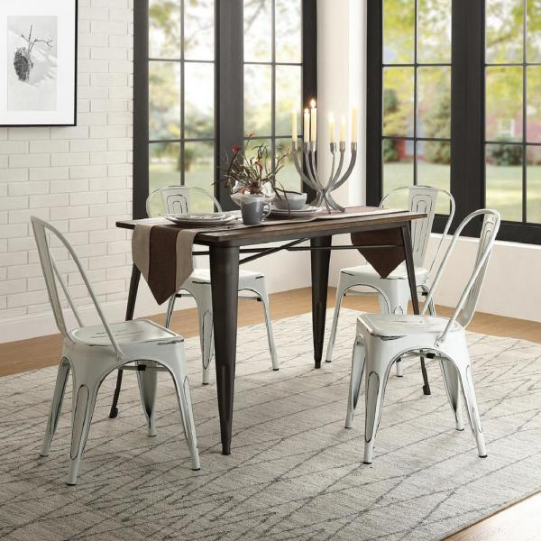 Harper & Bright Designs Brown Industrial Solid Wood And