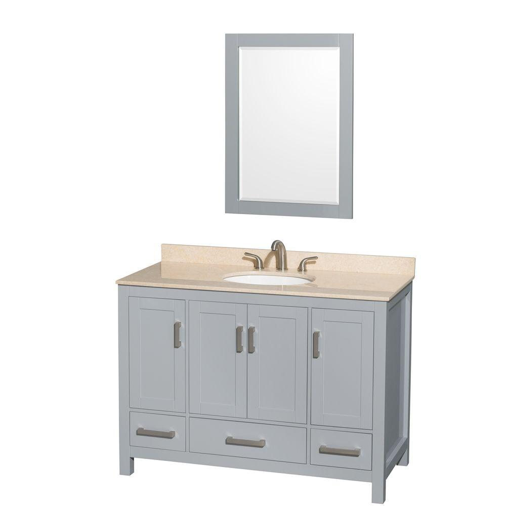 Vanity Gray Marble Vanity Top Ivory White Basin Mirror