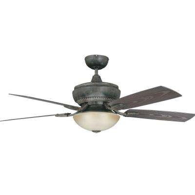 Boardwalk 52 in. Aged Pecan Ceiling Fan with Light Kit with 5 Blades
