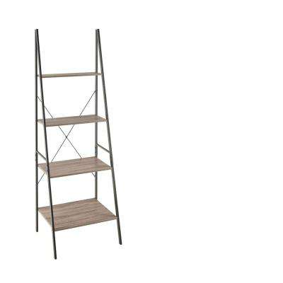 Mixed Material Storage Furniture 23.6 in W x 20 in. D Gray Ladder Bookshelf with Decorative Shelf