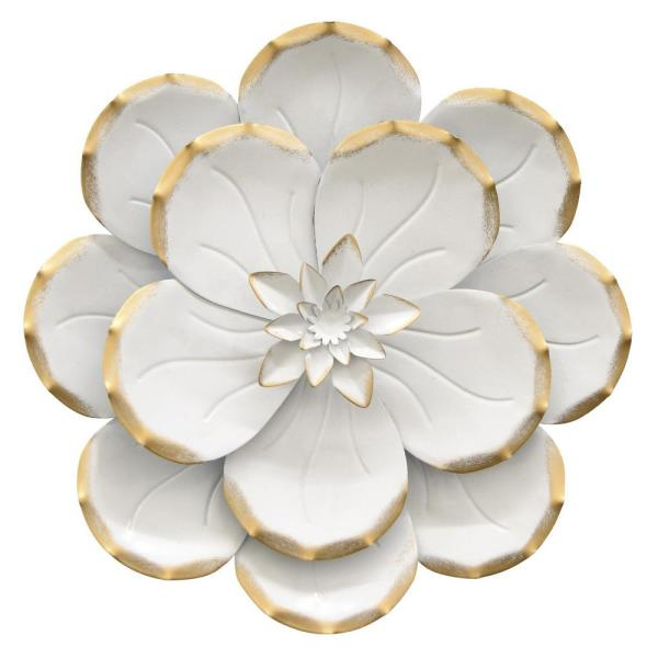 Ceramic Wall Flower Decor: THREE HANDS 10.5 In. Metal Flower Wall Decor In White