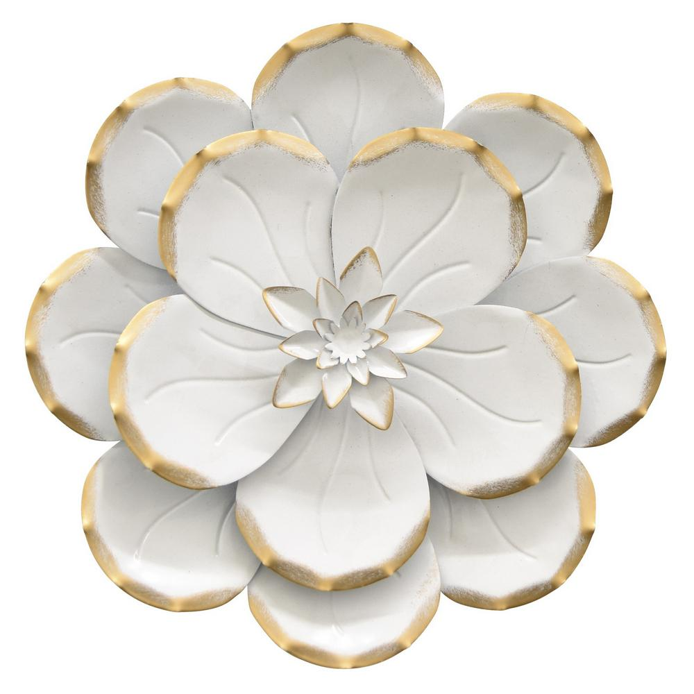 Metal Flower Wall Decor In White