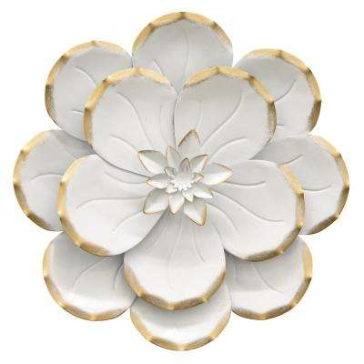 10.5 in. Metal Flower Wall Decor in White