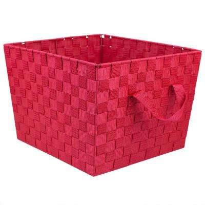 13 in. x 10 in. Red Polyester Woven Strap Open Bin