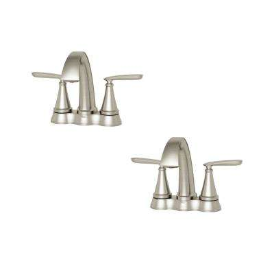 Somerville 4 in. Centerset 2-Handle Bathroom Faucet with Pop-Up Drain Set of 2 in. Brushed Nickel