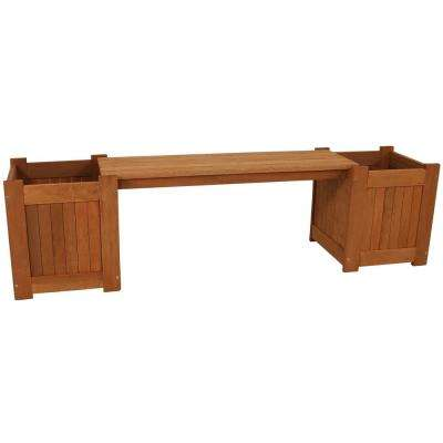 68 in. Meranti Wood Outdoor Planter Box Bench with Teak Oil Finish