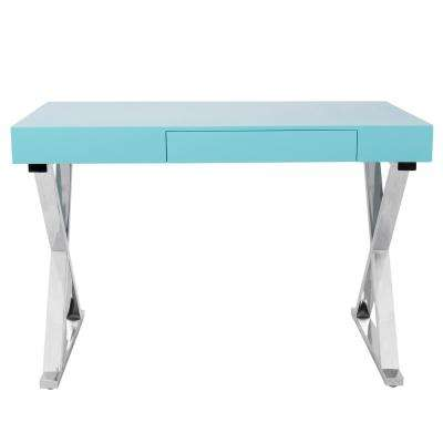 Luster Light Blue and Chrome Office Desk