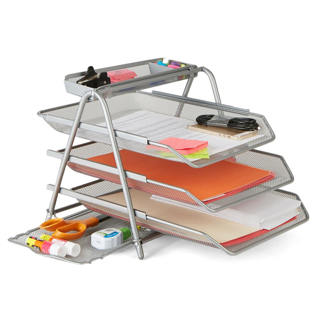 Mind Reader Metal Mesh 3 Tier File Tray In Silver
