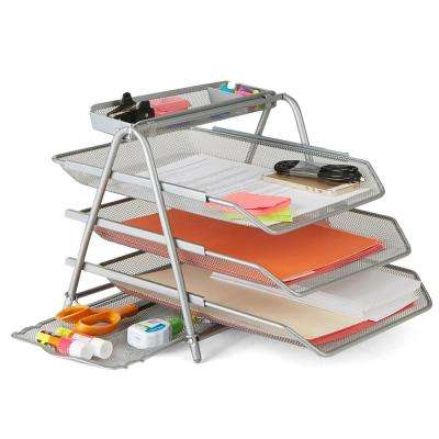 Metal Mesh 3 Tier File Tray In Silver
