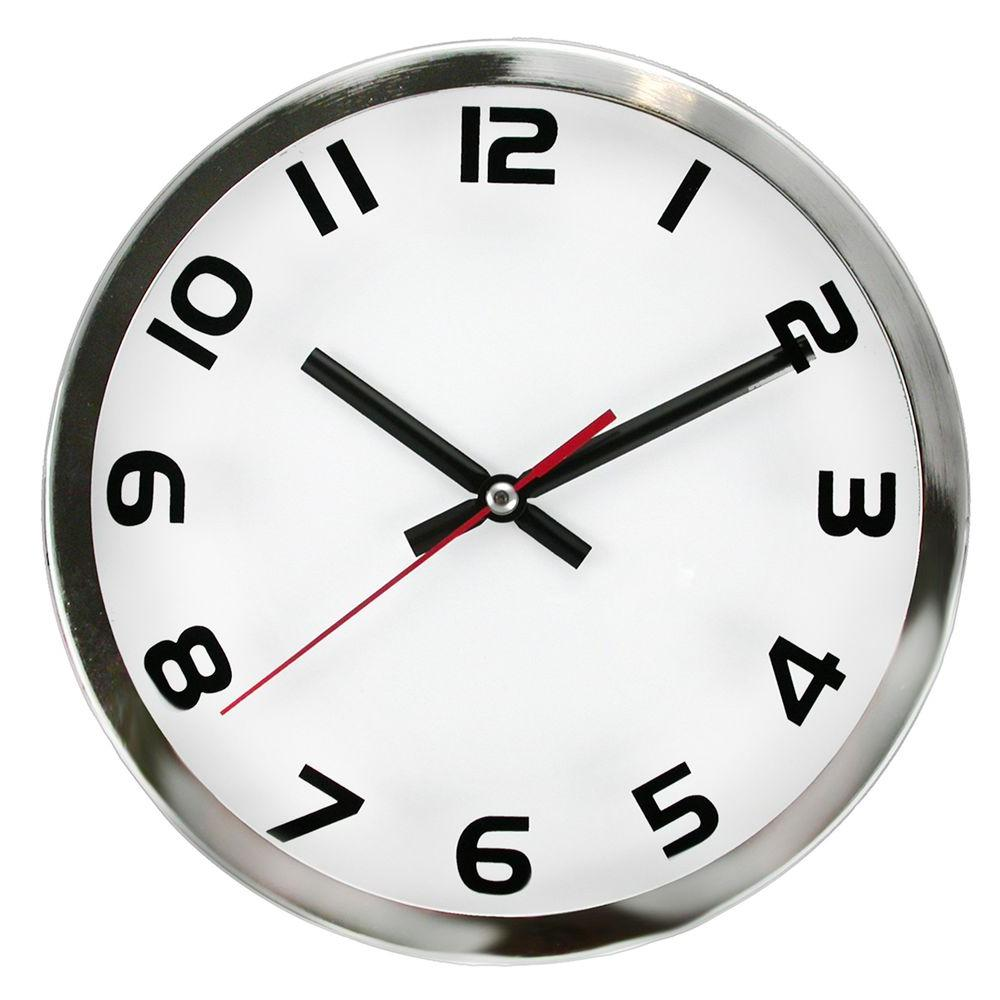 Timekeeper Products 9 in. Round Chrome Frame Screened Wall Clock-DISCONTINUED