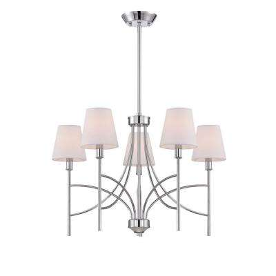 Millau Collection 5-Light Chrome Chandelier with Fabric Shade