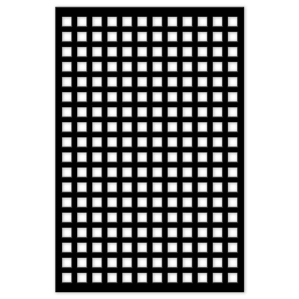 Acurio Latticeworks Square 32 in. x 4 ft. Black Vinyl Decorative Screen Panel