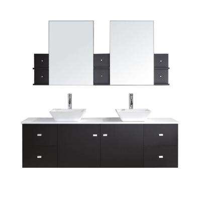 Clarissa 72 in. W Bath Vanity in Espresso with Stone Vanity Top in White with Square Basin and Mirror and Faucet