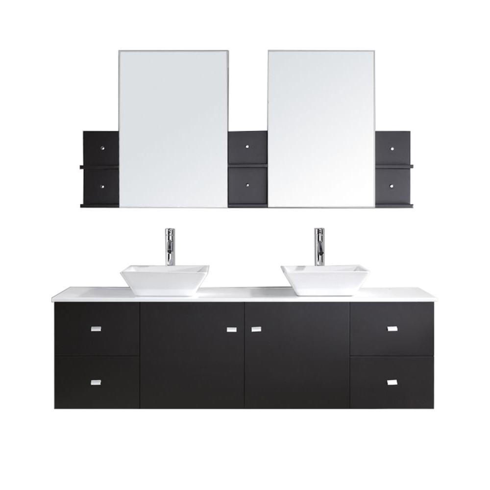 Virtu USA Clarissa 72 in. Double Basin Vanity in Espresso with Artificial Stone Vanity Top with White Basin and Mirror in White