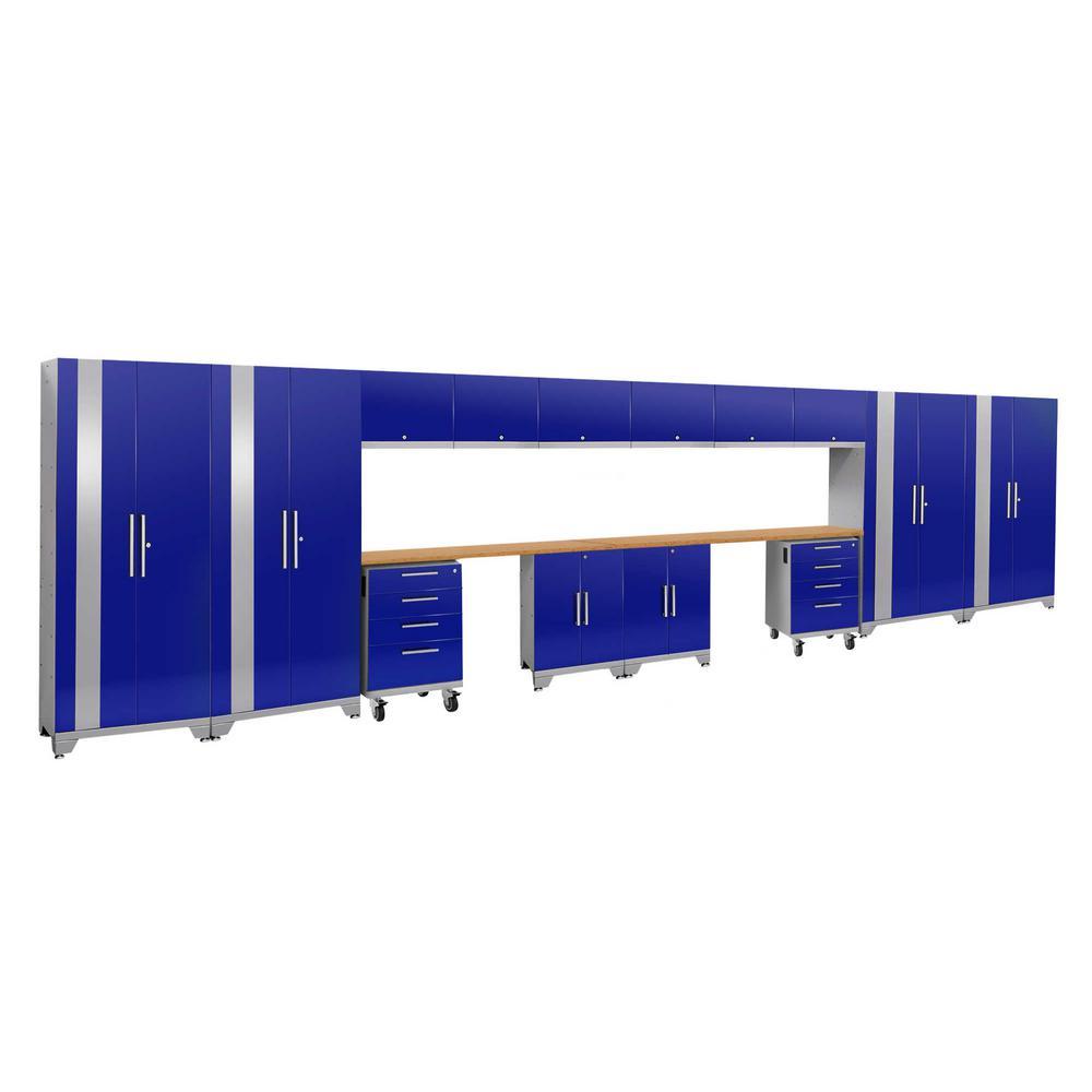 Performance 2.0 77.25 in. H x 264 in. W x 18 in. D 24-Gauge Welded Steel Bamboo Worktop Cabinet Set in Bkue (16-Piece)