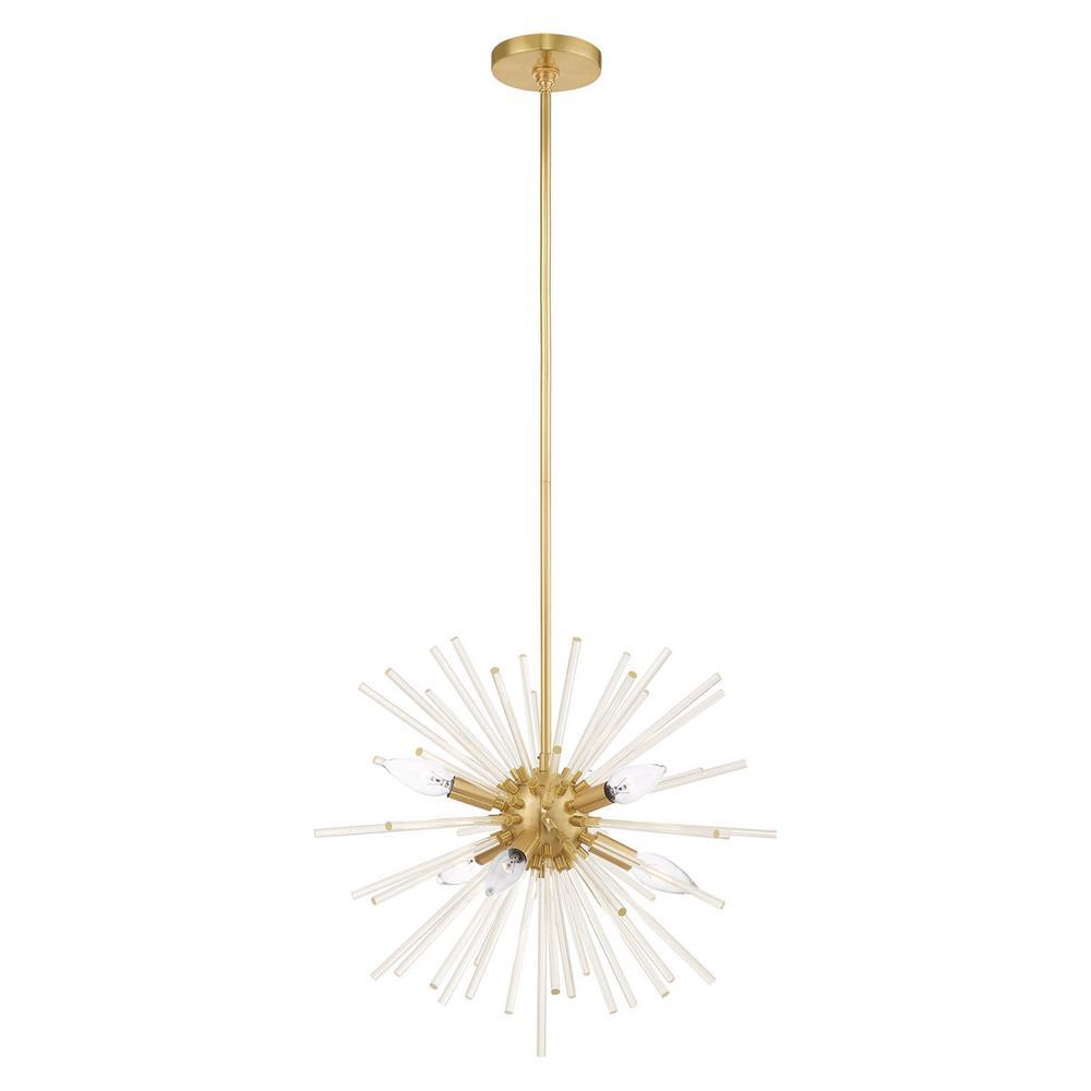 Livex Lighting Utopia 6-Light Satin Brass Starburst Pendant Chandelier with Clear Crystal Rods
