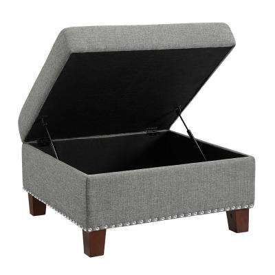 Kimball Dove Gray Storage Ottoman with Nailheads