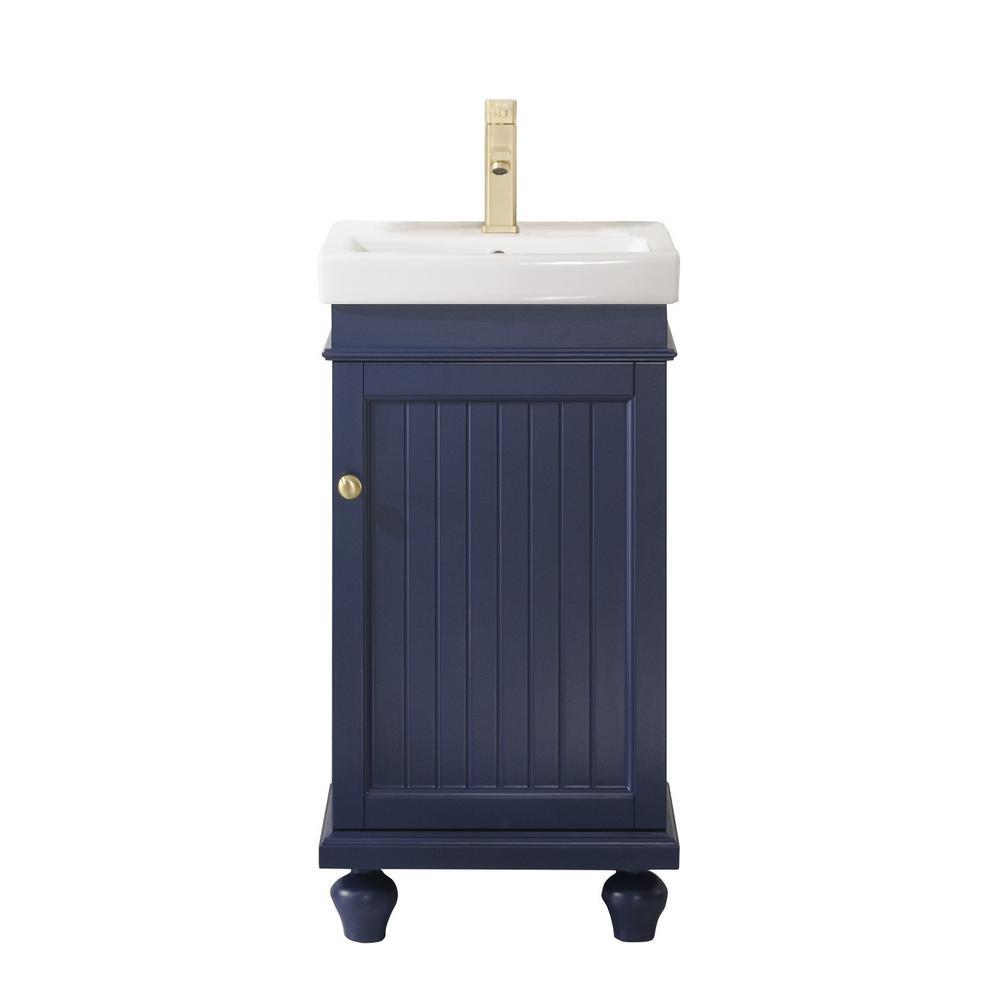 17 in. W x 13 in. D Vanity in Blue with Ceramic Vanity Top in White with White Basin