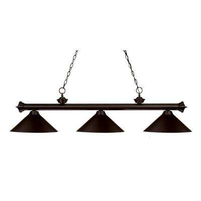 Pool table lights lighting the home depot lawrence 3 light bronze incandescent ceiling island light greentooth Images