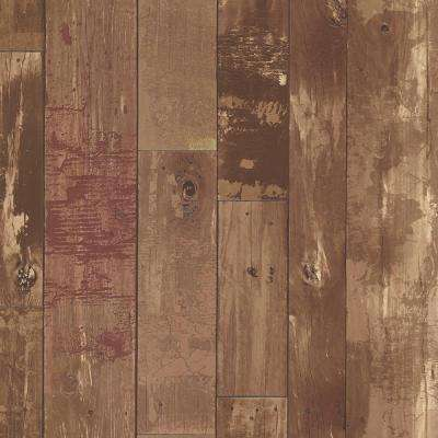 56.4 sq. ft. Heim Brown Distressed Wood Panel Wallpaper