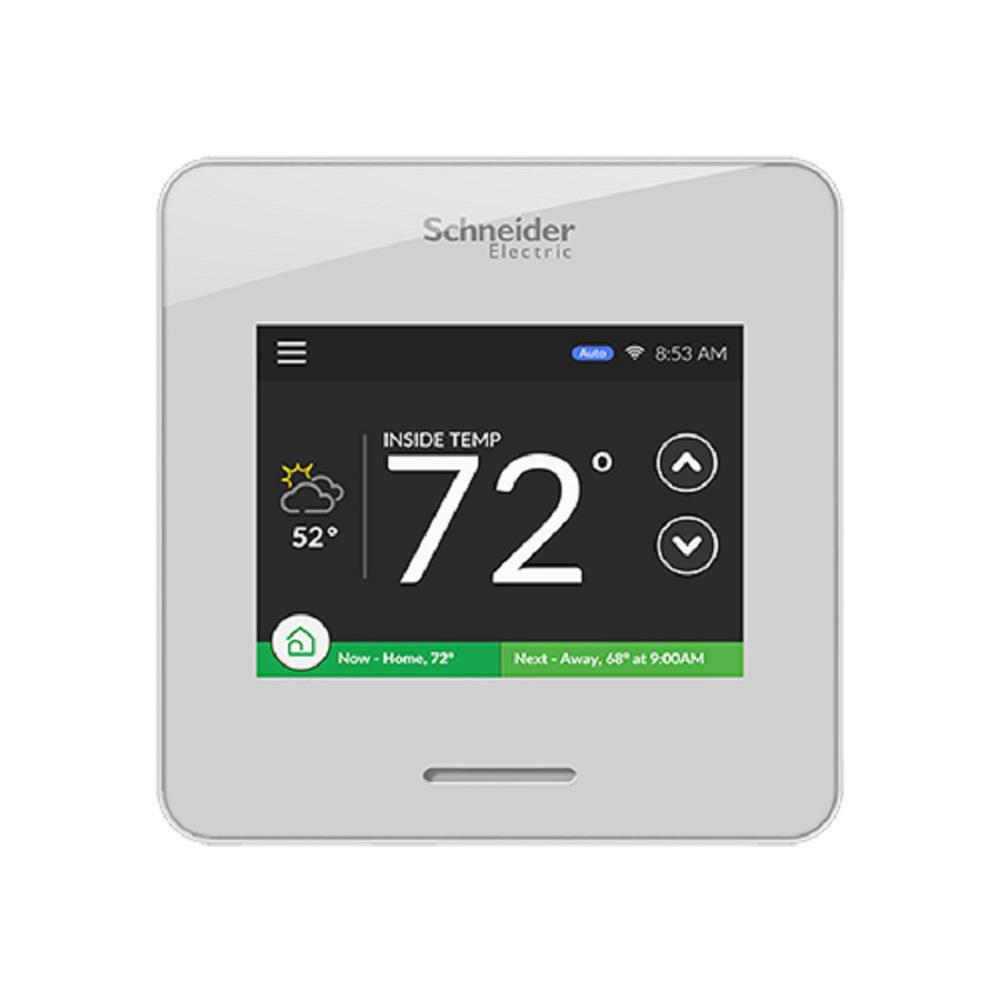 Schneider Electric Wiser Air Wi-Fi Smart Programmable Thermostat with Comfort Boost and Touch Screen Display in White