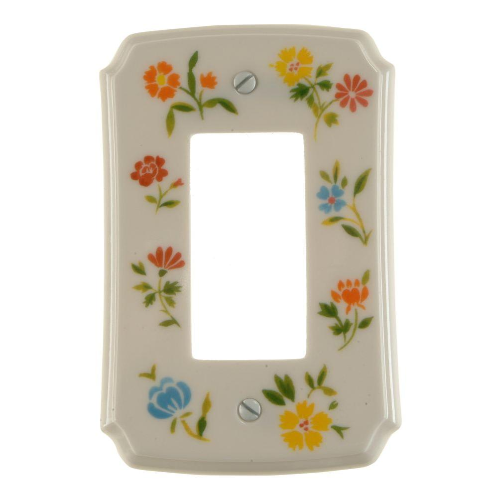 Amerelle Flower Toss 1 Gang Rocker Wall Plate - Green
