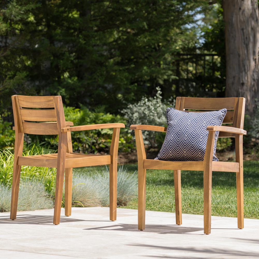 Le House Teak Brown Slatted Wood Outdoor Dining Chair 2 Pack