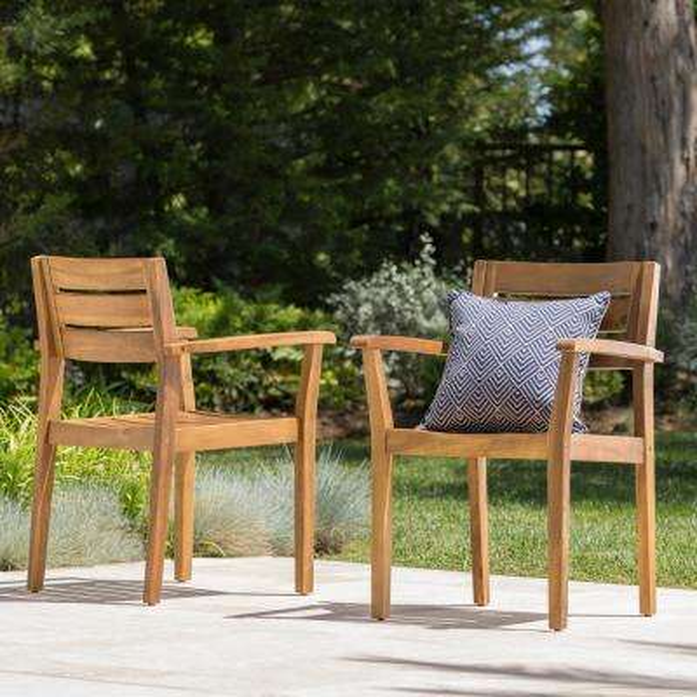 Teak Brown Slatted Wood Outdoor Dining Chair (2-Pack)