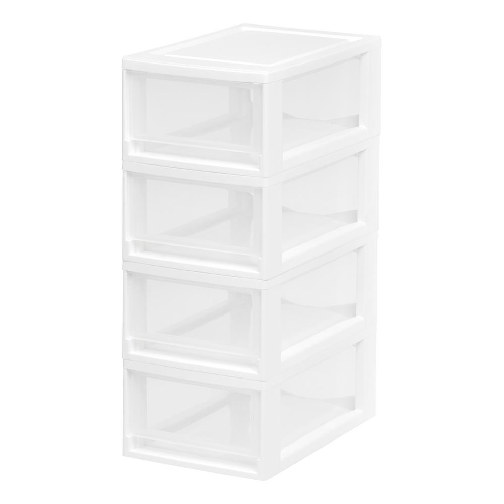 Small Stacking Storage Drawer in White (4-Pack)