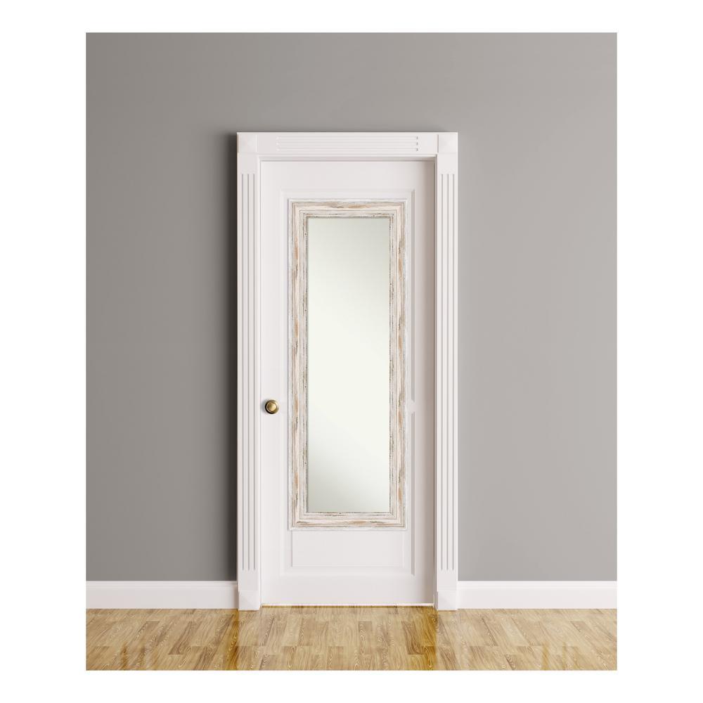 Alexandria White Wash Wood 19 in. W x 53 in. H On The Door Mirror