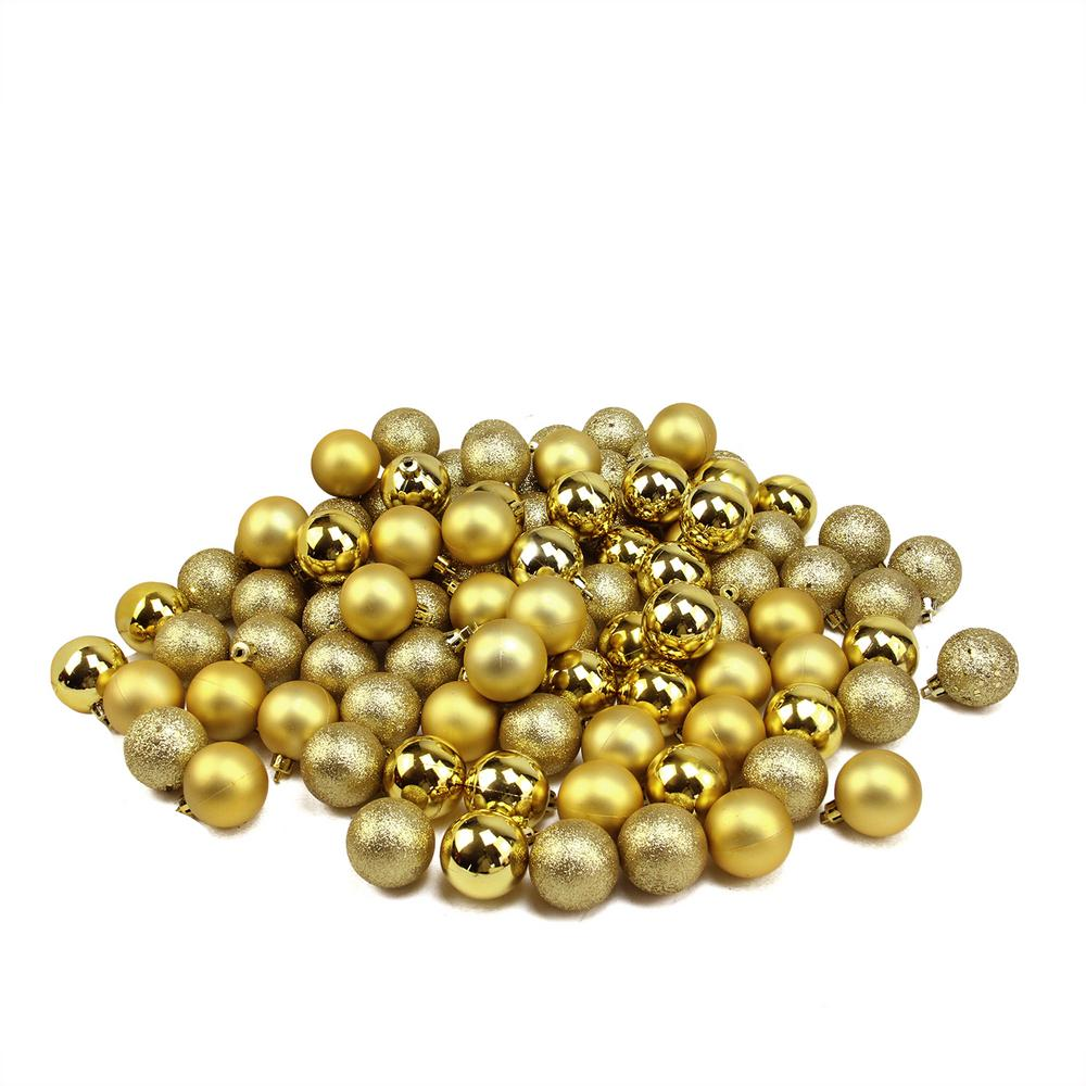 1.5 in. Shatterproof Vegas Gold 4-Finish Christmas Ball Ornaments (96-Count)